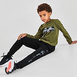 Boys' Toddler and Little Kids' Champion Camo Script Logo Long-Sleeve T-Shirt and Jogger Pants Set
