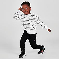 Boys' Toddler and Little Kids' Champion Allover Print Script Crewneck Sweatshirt and Jogger Pants Set