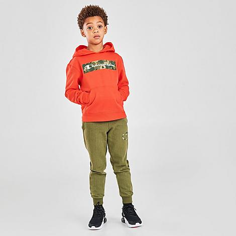 Champion Boys' Toddler and Little Kids' Camo Box Script Hoodie and Jogger Pants Set in Orange/Orange Size 3 Toddler Knit