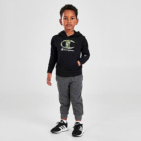 Champion Boys' Toddler and Little Kids' Big C Camo Pullover Hoodie and Jogger Pants Set in Grey/Black/Black Size 4 Knit