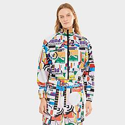 Women's Puma International Allover Print Woven Full-Zip Track Jacket