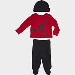 Infant Jordan Long-Sleeve Shirt, Footed Pants and Beanie Hat Set (3-Pack)