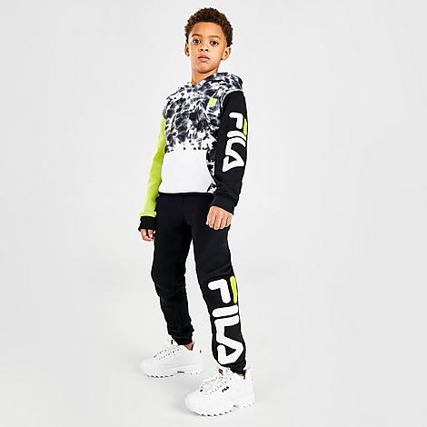 Fila Boys' Little Kids' Gian Tie-Dye Camo Fleece Pullover Hoodie and Jogger Pants Set in Black/Black Size 4