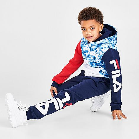 FILA FILA BOYS' LITTLE KIDS' GIAN TIE-DYE CAMO FLEECE PULLOVER HOODIE AND JOGGER PANTS SET