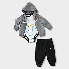 Boys' Infant Nike Swooshfetti Parade 3-Piece Full-Zip Hoodie, Jogger Pants and Long-Sleeve Bodysuit Set (Sizes 0M-9M)