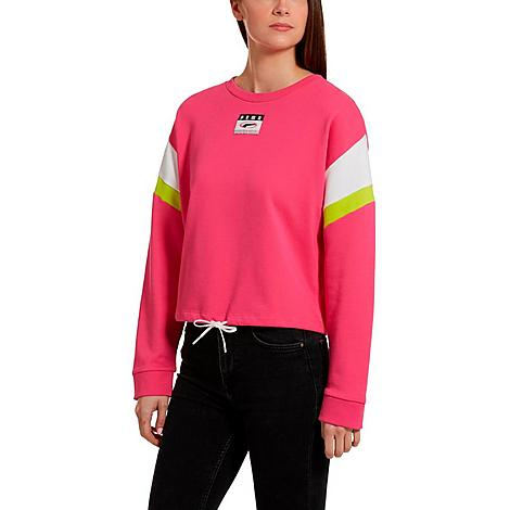 Puma Women's '90s Retro Crop Crewneck Sweatshirt in Purple/Fuchsia Purple Size Small Cotton Size & Fit Standard fit for mobility without bulk Cropped hem with drawcord for a customizable fit Product Features Cotton blend fabric is lightweight and soft Graphic embroidery and Puma branding Machine wash The Puma '90s Retro Crewneck Sweatshirt is imported. Throw it back to when The New Kids on the Block ruled the charts and neon brights reigned on the fashion scene when you rock the Women's Puma '90s Retro Crewneck Sweatshirt. With 1990s-inspired style baked right in, this laid back sweatshirt makes a fashion-savvy statement. Size: Small. Color: Purple. Gender: female. Age Group: adult. Puma Women's '90s Retro Crop Crewneck Sweatshirt in Purple/Fuchsia Purple Size Small Cotton