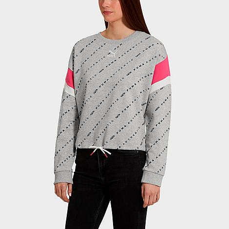 Puma Women's '90s Retro Allover Print Crop Crewneck Sweatshirt in Grey/Light Grey Heather Size X-Small Cotton Size & Fit Standard fit for mobility without bulk Cropped hem with drawcord for a customizable fit Product Features Cotton blend fabric is lightweight and soft Graphic embroidery and Puma branding Machine wash The Puma '90s Retro Allover Print Crop Crewneck Sweatshirt is imported. Throw it back to when The New Kids on the Block ruled the charts and neon brights reigned on the fashion scene when you rock the Women's Puma '90s Retro Allover Print Crop Crewneck Sweatshirt. With 1990s-inspired style baked right in, this laid back sweatshirt makes a fashion-savvy statement. Size: X-Small. Color: Grey. Gender: female. Age Group: adult. Puma Women's '90s Retro Allover Print Crop Crewneck Sweatshirt in Grey/Light Grey Heather Size X-Small Cotton
