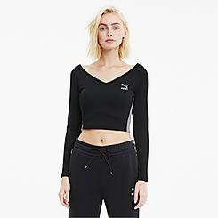 Women's Puma Classics Ribbed Long-Sleeve Crop Top