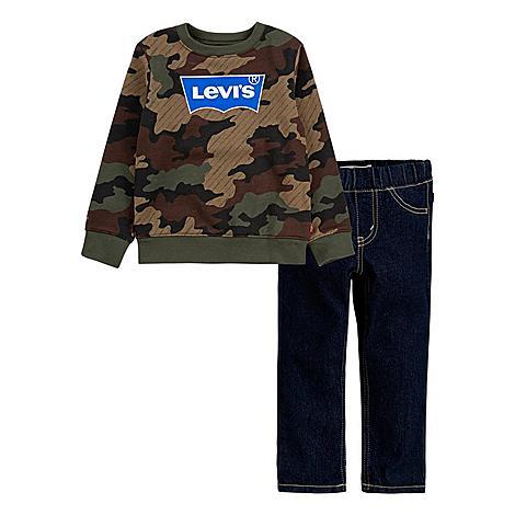 Levis Boys' Infant Levi's™ Camo Crewneck Sweatshirt and Jeans Set in Green/Camo Size 12 Month Cotton/Polyester/Denim