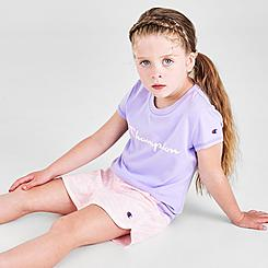 Girls' Little Kids' Champion Zebra Script T-Shirt and Shorts Set