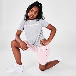 Girls' Little Kids' Champion Tie-Front Script T-Shirt and Bike Shorts Set