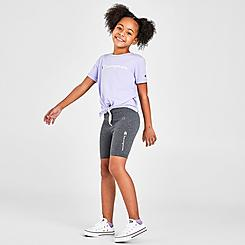 Girls' Little Kids' Champion Tie-Front Script T-Shirt and Bike Short Set