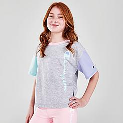 Girls' Champion Colorblock Boxy Script Logo T-Shirt