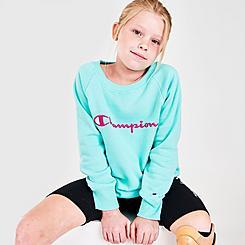 Girls' Champion Script Logo Crewneck Sweatshirt