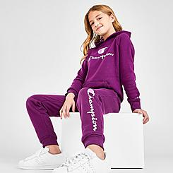 Girls' Champion Script Logo Fleece Jogger Pants