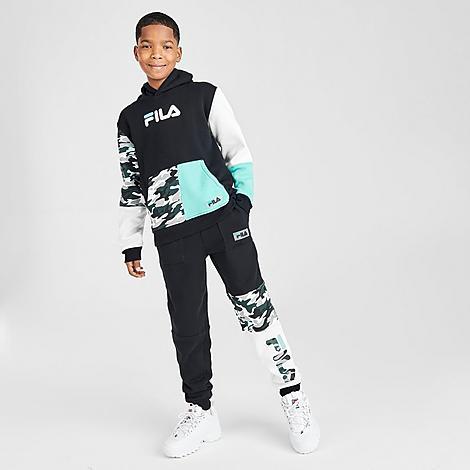 Fila Boys' Bobby Camo Colorblock Jogger Pants in Black/Black Size Medium Fleece