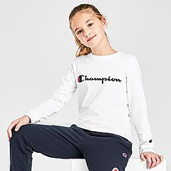 Kids' Champion Script Logo Long-Sleeve T-Shirt