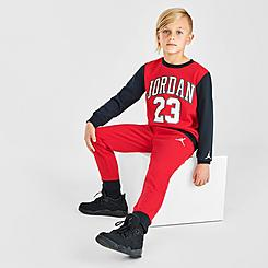 Boys' Little Kids' Jordan Practice Flight Crewneck Sweatshirt and Jogger Pants Set