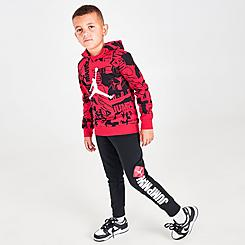 Boys' Little Kids' Jordan Essentials Fleece AOP Hoodie and Jogger Pants Set