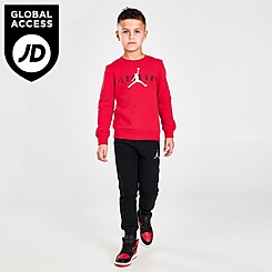 Boys' Little Kids' Toddler Jordan Jumpman Fleece Crewneck Sweatshirt and Jogger Pants Set