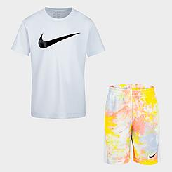 Girls' Little Kids' Nike Sportswear T-Shirt and Tie-Dye Shorts Set