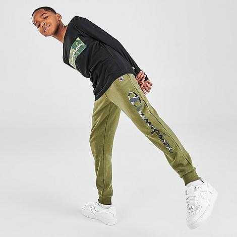 Champion Boys' Camo Script Logo Fleece Jogger Pants in Green/Olive Camo Size Medium