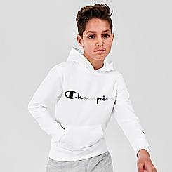 Kids' Champion Tricolor Script Logo Pullover Hoodie