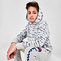 Boys' Champion Allover Multi Script Logo French Terry Pullover Hoodie