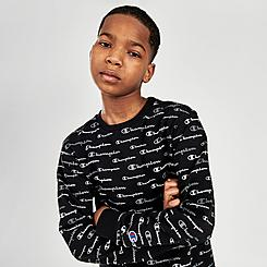 Boys' Champion AOP Multi Script Crewneck Sweatshirt