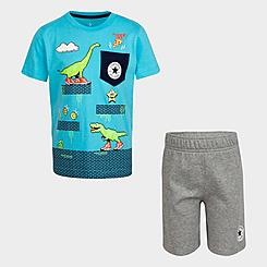 Boys' Little Kids' Converse Dinosaur T-Shirt and Shorts Set