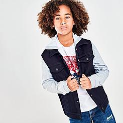 Boys' Levi's® Hooded Hybrid Knit Denim Trucker Jacket