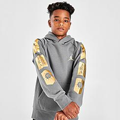 Boys' Jordan Jumpman Metallic Logo Fleece Pullover Hoodie