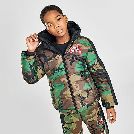 Jordan Boys' Jumpman Classics Mashup Logo Camo Puffer Jacket in Green/Brown/Green Size Small 100% Polyester/Fleece/Taffeta
