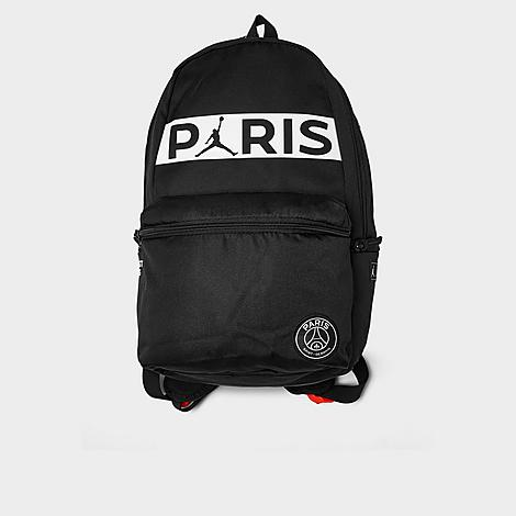 Jordan Paris Saint-Germain Daypack Backpack in Black/Black 100% Polyester Durable polyester-blend material helps combat daily wear and tear Paris Saint-Germain and Jumpman branding Top haul loop and padded, adjustable shoulder straps for versatile carrying options Main zip compartment opens to reveal a roomy interior Exterior zip pockets offer easy access to necessities Stitched-down jock tag details for an elevated look and feel 100% polyester The Jordan Paris Saint-Germain Daypack Backpack is imported. Carry supplies with ease rocking the Jordan Paris Saint-Germain Daypack Backpack. Featuring an athletic-inspired design, this sporty bag offers a comfortable carrying experience and multiple storage options making it a must-have. Color: Black. Gender: unisex. Age Group: adult. Jordan Paris Saint-Germain Daypack Backpack in Black/Black 100% Polyester