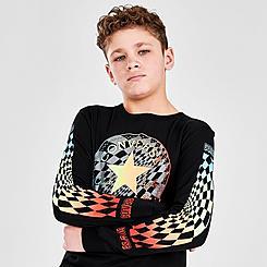 Boys' Converse Warped Checkered Gradient Logo Long-Sleeve T-Shirt
