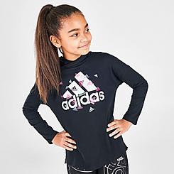 Girls' adidas Badge of Sport Long-Sleeve Hooded T-Shirt