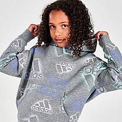 Girls' adidas Badge Of Sport Logo Allover Print Fleece Hoodie