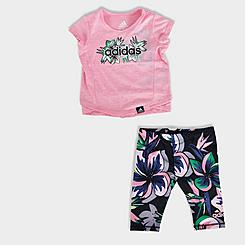 Girls' Toddler and Little Kids' adidas Floral T-Shirt and Leggings Set