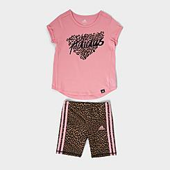 Girls' Toddler and Little Kids' adidas Leopard Print T-Shirt and Bike Shorts Set