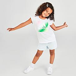 Girls' Toddler and Little Kids' adidas Badge Of Sport Boxed Logo Graphic T-Shirt and Shorts Set