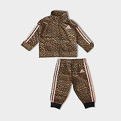 Girls' Infant adidas Leopard Print Tricot Jacket and Jogger Pants Set