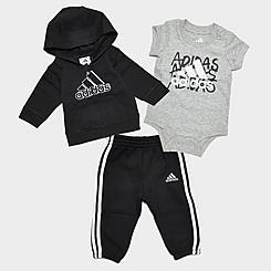 Boys' Infant adidas Badge Of Sport Hoodie, Bodysuit and Jogger Pants Set (3-Piece)