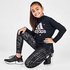 Girls' adidas Allover Foil Logos Doodle Print Leggings
