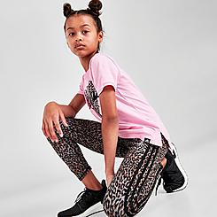Girls' adidas Leopard 3-Stripes Leggings