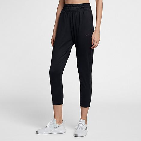 Built for dance class and yoga sessions, these pants move with you without the bulk Tapered, oversized fit is built for high-movement activities Dri-FIT materials wicks sweat away from the body, keeping you cool and dry Wide waistband customizes your fit and keeps your comfortable Hand pockets hold your essentials 84% polyester, 16% spandex Machine wash The Nike Flow Lux Cropped Pants are imported. Flexible activities like barre class and yoga don\\\'t stand a chance against the Women\\\'s Nike Flow Lux Cropped Pants. Made with sweat-wicking material and featuring a roomy, stretchy fit, these pants are a must-have for women on-the-go. Size: Medium. Color: Black. Gender: female. Age Group: adult. Material: Polyester/Spandex. Nike Women\\\'s Flow Lux Cropped Pants in Black/Black Size Medium Polyester/Spandex