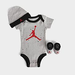 Boys' Infant Jordan Speckled Jumpman 3-Piece Hat and Booties Box Set