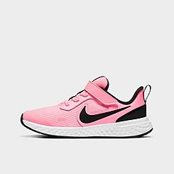 Girls' Little Kids' Nike Revolution 5 Hook-and-Loop Running Shoes