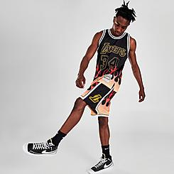 Men's Mitchell & Ness Los Angeles Lakers 2009-10 Flames Swingman Shorts
