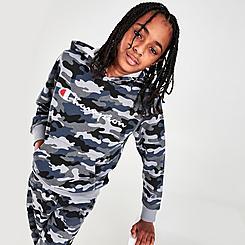 Kids' Champion Allover Print Camo Script Pullover Hoodie