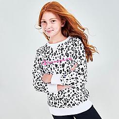 Girls' Champion Allover Leopard Print Script Logo Crewneck Sweatshirt